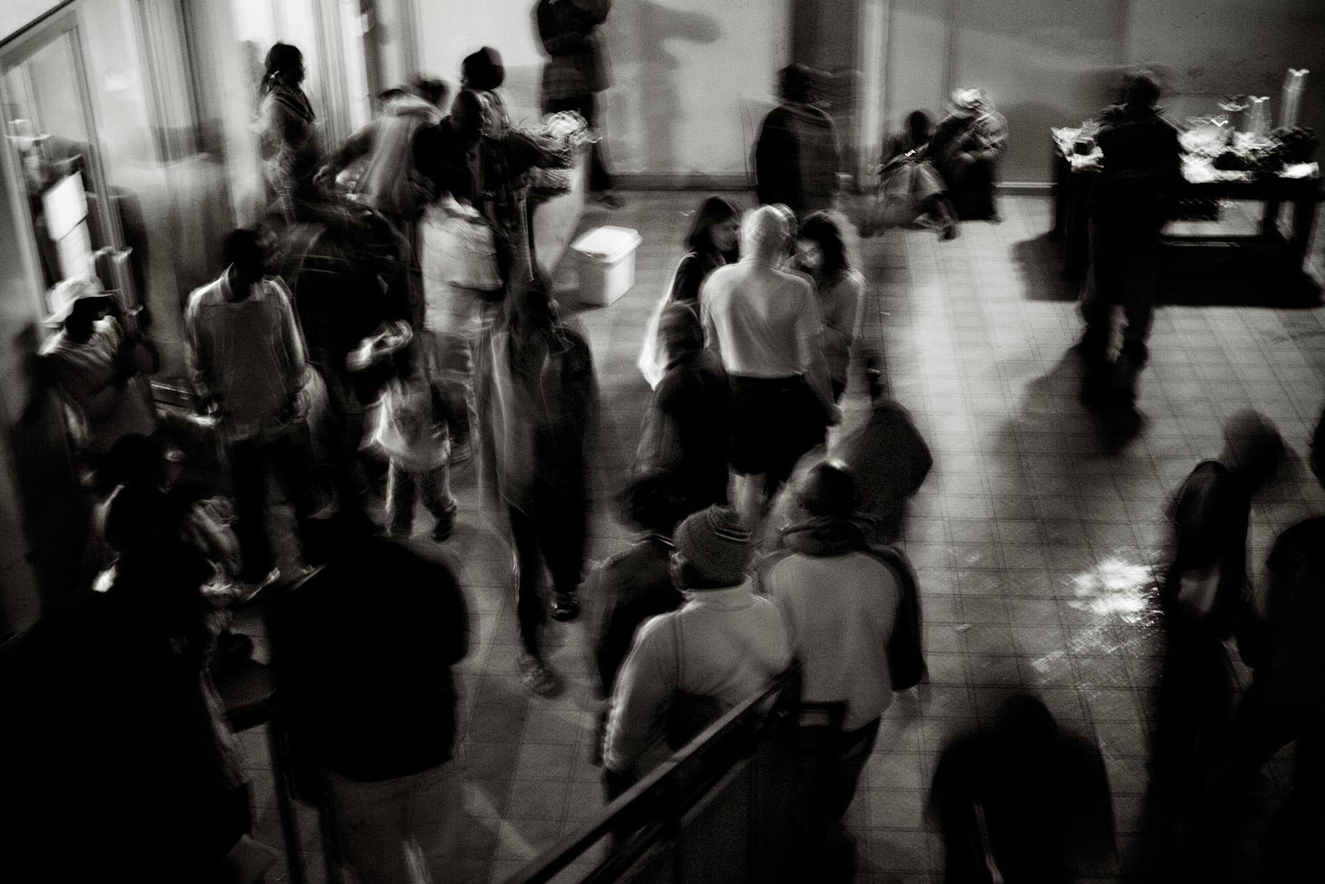 Réfugiés à l'entrée de Central Church à Johannesburg