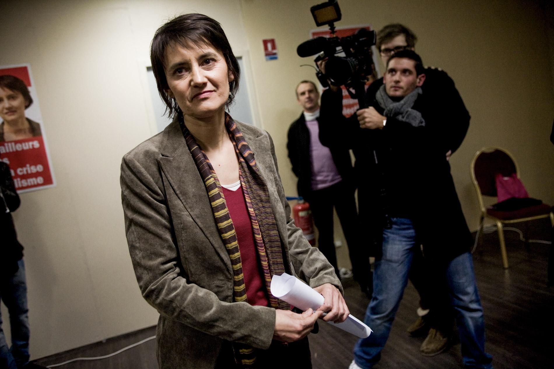 Nathalie Arthaud, porte parole de Lutte Ouvriere, le 3 février 2012.