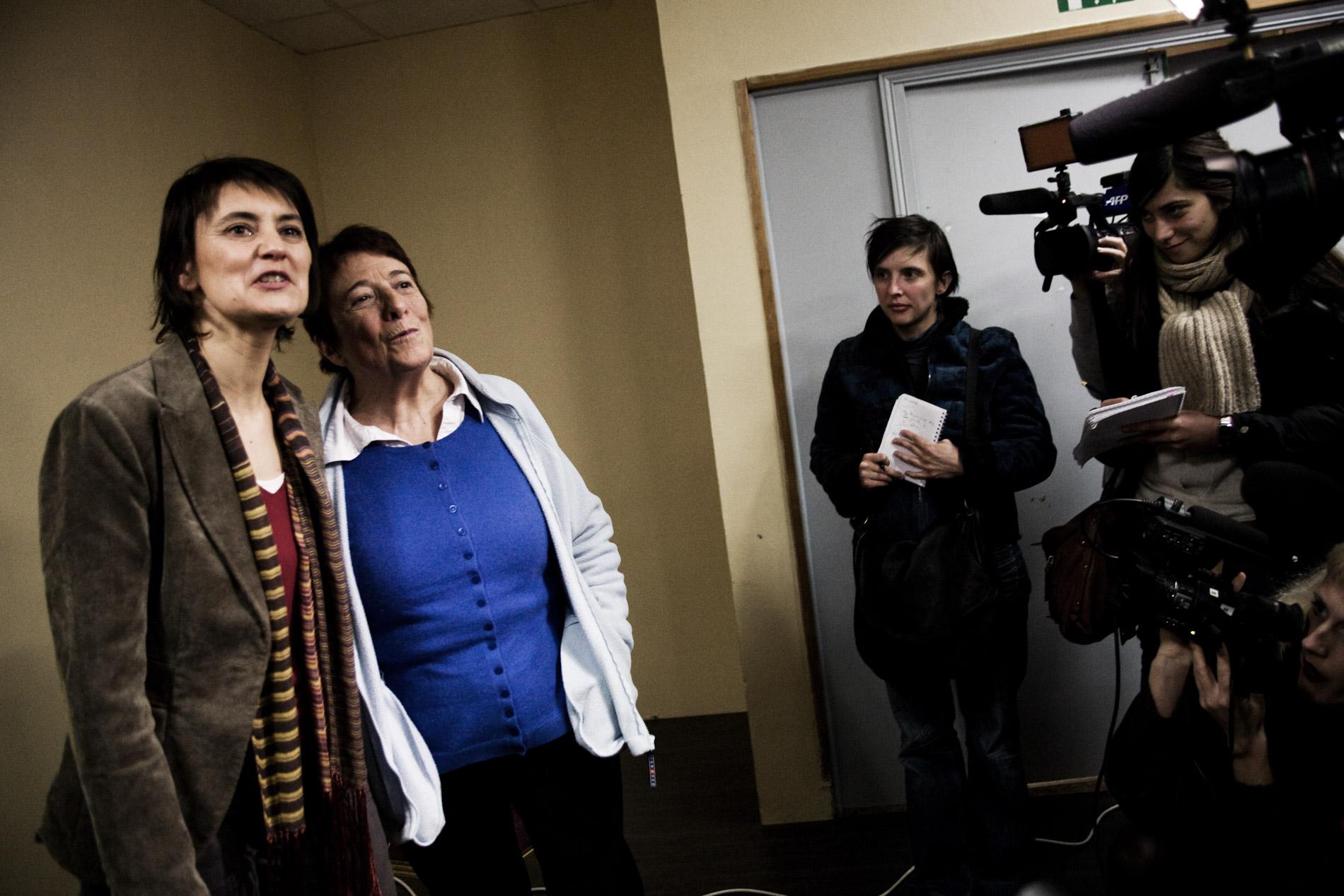 Nathalie Arthaud porte parole de Lutte Ouvriere et Arlette Laguiller