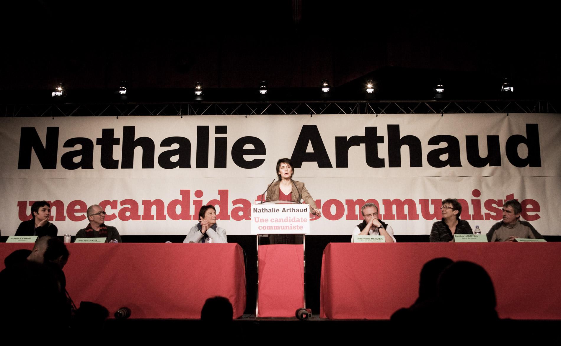 Meeting de Nathalie Arthaud, porte parole de Lutte Ouvriere avec Arlette Laguiller
