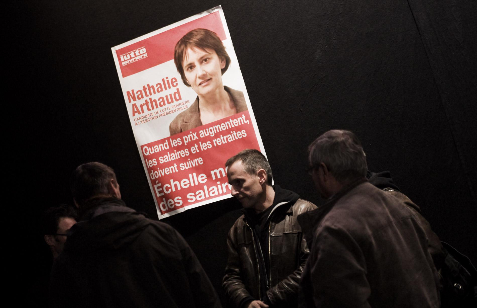 Meeting de Nathalie Arthaud, porte parole de Lutte Ouvriere
