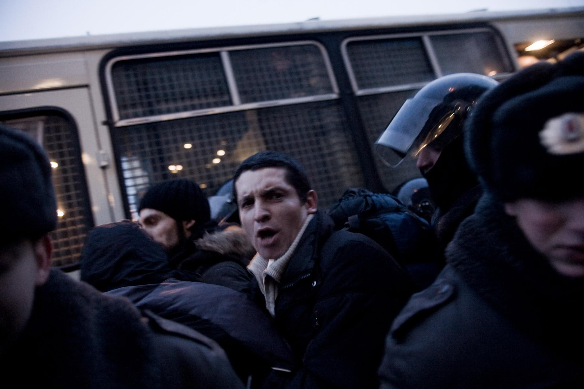 Manifestation d'opposants à Vladimir Poutine, de la coalition