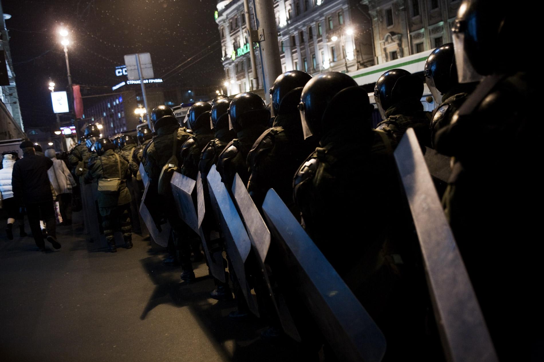 Manifestation de l'opposition a Vladimir Poutine, place Pouchkine, le 5 mars 2012 a Moscou.