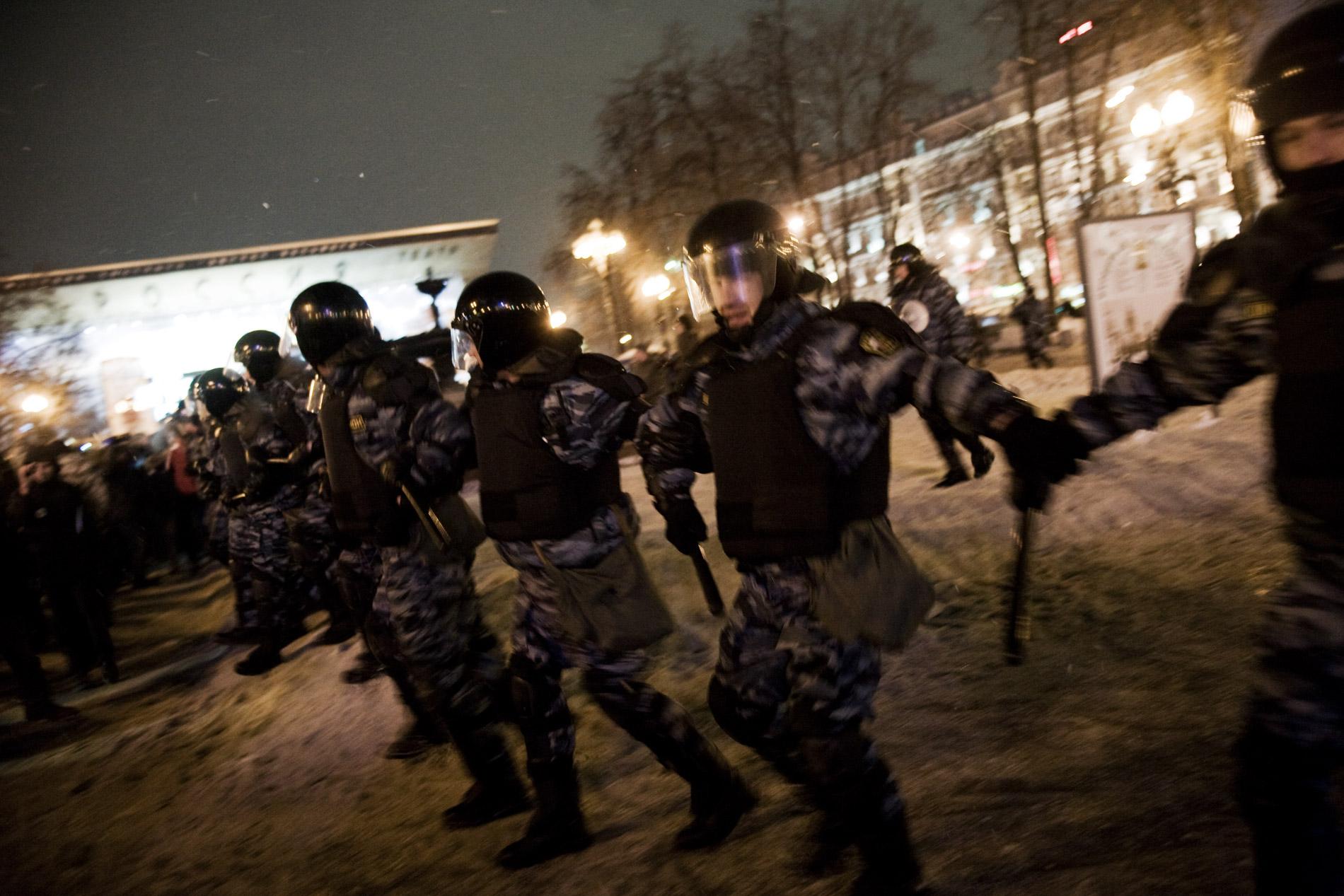 Manifestation de l'opposition a Vladimir Poutine, place Pouchkinskaia, le 5 mars 2012 a Moscou.