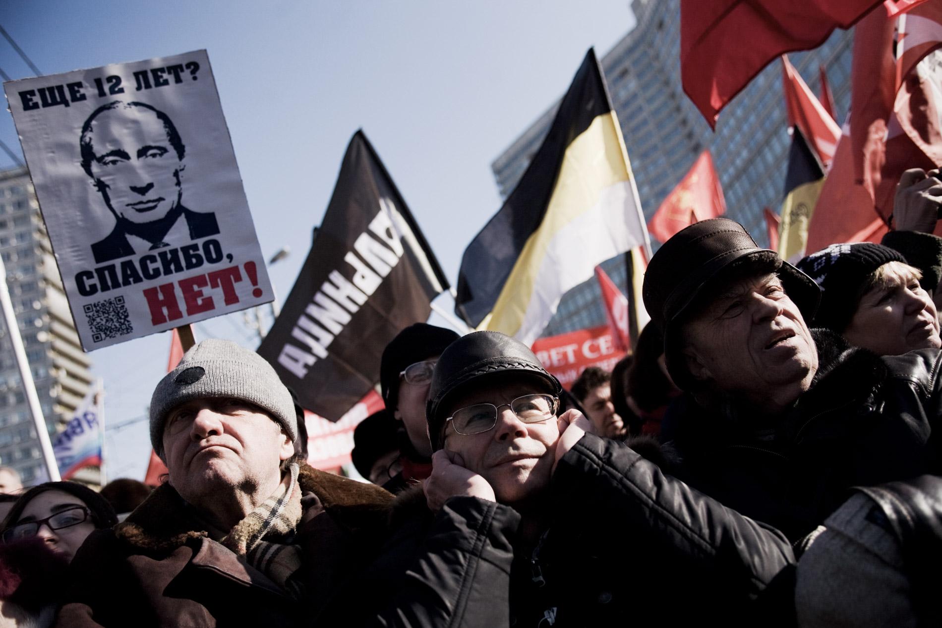 Manifestation de 15.000 opposants a Vladimir Poutine, suite a son election a la tete de la Russie. Moscou, le 10 mars 2012.