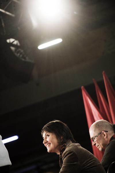 Meeting de Nathalie Arthaud, porte parole de Lutte Ouvrière