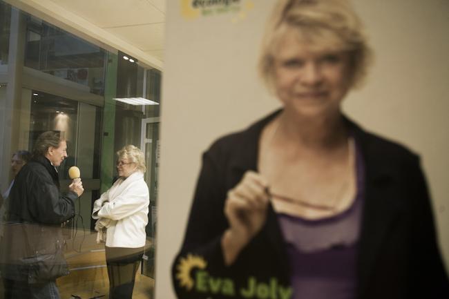 Eva Joly au QG d'Europe Ecologie les Verts le 27 mars 2012