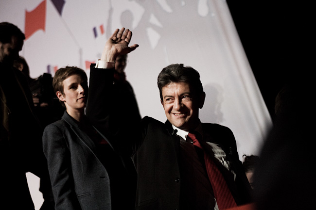 Discours de Jean-Luc Mélenchon, candidat du Front de Gauche à la présidentielle, pendant son meeting, le 19 avril 2012.