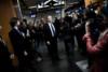 Nicolas Dupont Aignan prend le RER entre la Gare du Nord et Gare de Lyon, pour parler des problemes de train et de tarifications, le 4 avril 2012 a Paris. thumbnail