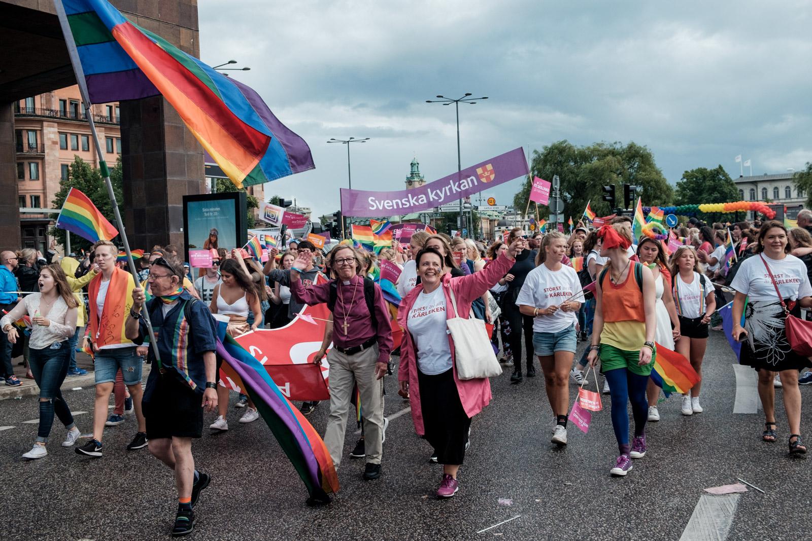 2017 - Gay Pride de Stockholm, avec l'eglise de Suede